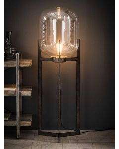 Vloerlamp Glas support met metalen driepoot frame oud zilver