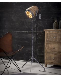 Vloerlamp iron large in hoogte verstelbaar met mango houten kap