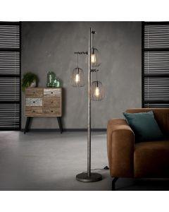 Vloerlamp industrieel Lampoon 3 lichts metaal oud zilver look