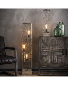 Vloerlamp rechthoek mesh houten voetje 3L aan