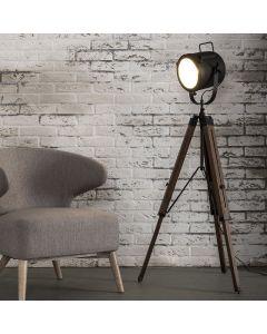 Vloerlamp tripod op houten statief met een metalen verstelbare kap