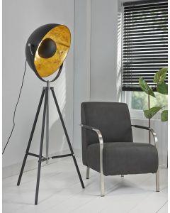 Vloerlamp 1 lichts driepoot schijnwerper zwart met ronde kap