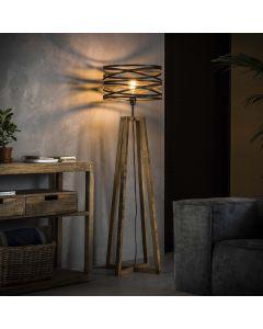 Vloerlamp twist met houten kruisframe en metalen ronde getwiste kap