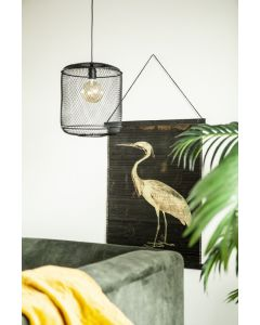 Wanddecoratie bamboe Miyagi bird large By-Boo 90 x 120