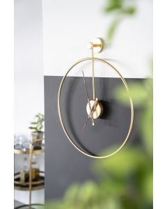 Wandklok Sundial goud metaal small