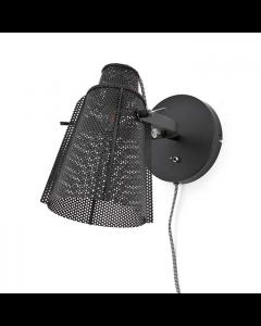 Wandlamp Apollo By-Boo zwart metaal met draaibare geperforeerde kap