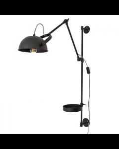 Wandlamp Eagle by-boo zwart metaal met strijkijzersnoer