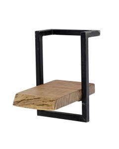 Wandplank Edge acaciahout & zwart metaal 20 cm