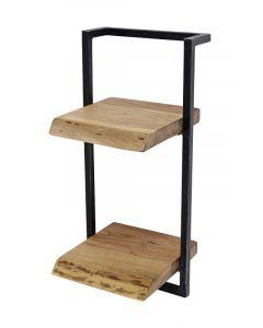 Wandplank Edge acaciahout & zwart metaal met twee planken 65 cm hoog