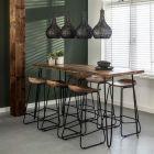 Bartafel Edge 180 x 70 acaciahout & zwart metalen hairpin poten