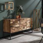 Dressoir Mill driedeurs acaciahout & zwart metalen frame 160 cm breed