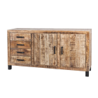 Dressoir 173 cm breed 2 deurs en 4 laden mangohout met zwart metaal