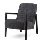 Fauteuil veloursstof grijs zwart houten frame