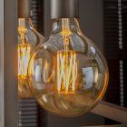 Filament LED-Lamp bol 9,5 cm dimbaar E27 fitting amberkleurig glas