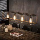 Hanglamp Cubic 4 lichts rechthoek in oud zilver met een open kokerframe aan