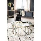 Retro salontafel Caesar rond By-Boo 80 cm doorsnee geribbeld glas en goud metaal
