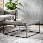 salontafel vierkant industrieel grijs blad van mangohout 80x80x40