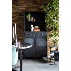 Stalen zwarte boekenkast Eleo met industriele uitstraling 2 deuren en 2 laden 85 breed 40 diep en 180 hoog