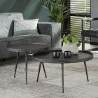 Sfeerimpressie Set van twee salontafels grijs metaal