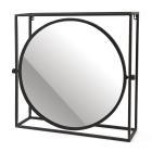 Spiegel rond 52 bij 50 cm zwart