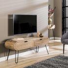 Tv-meubel Barrel 135 cm breed mangohout & zwart metaal