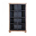 Vitrinekast 2 deurs 123 cm breed metaal met teakhout en MDF