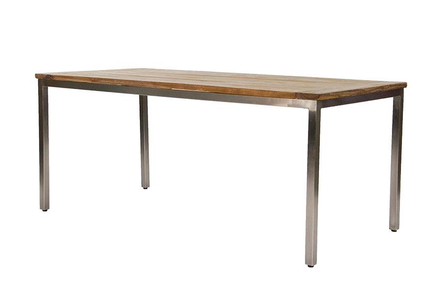Eettafel oud hout met metalen onderstel 180 200 220 i.d. wonen